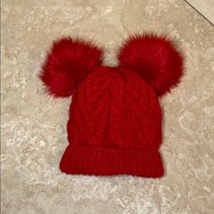 Baby Gap Red Double Pom Pom beanie